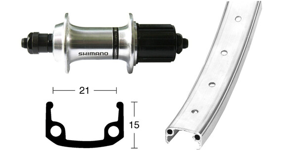 Bike-Parts Hinterrad 26x1.9 TX800 8/10s QR 36L silber